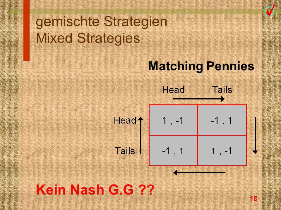 18 gemischte Strategien Mixed Strategies Kein Nash G.G ?? Matching Pennies