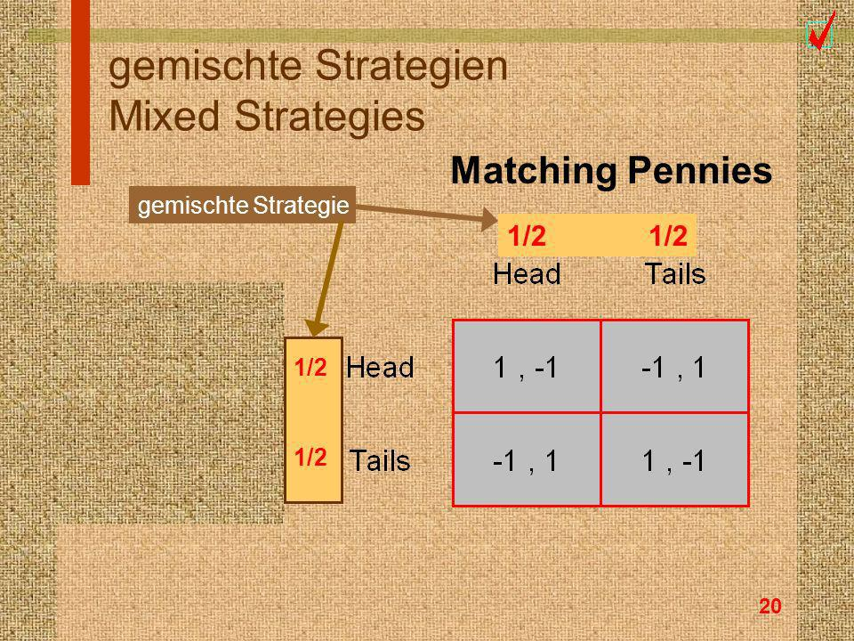 20 gemischte Strategien Mixed Strategies Matching Pennies 1/2 0 0 gemischte Strategie