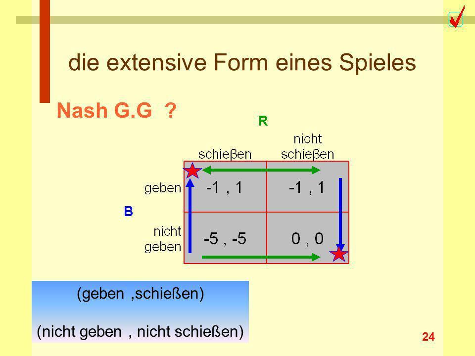 24 die extensive Form eines Spieles R B Nash G.G ? (geben,schießen) (nicht geben, nicht schießen)
