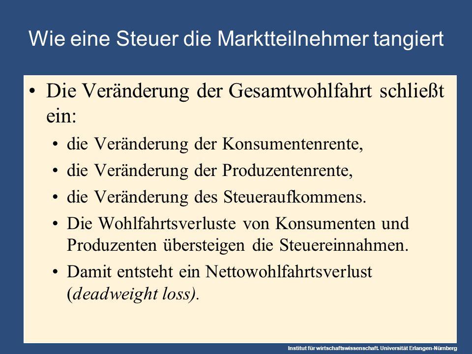 Institut für wirtschaftswissenschaft. Universität Erlangen-Nürnberg Wie eine Steuer die Marktteilnehmer tangiert Die Veränderung der Gesamtwohlfahrt s