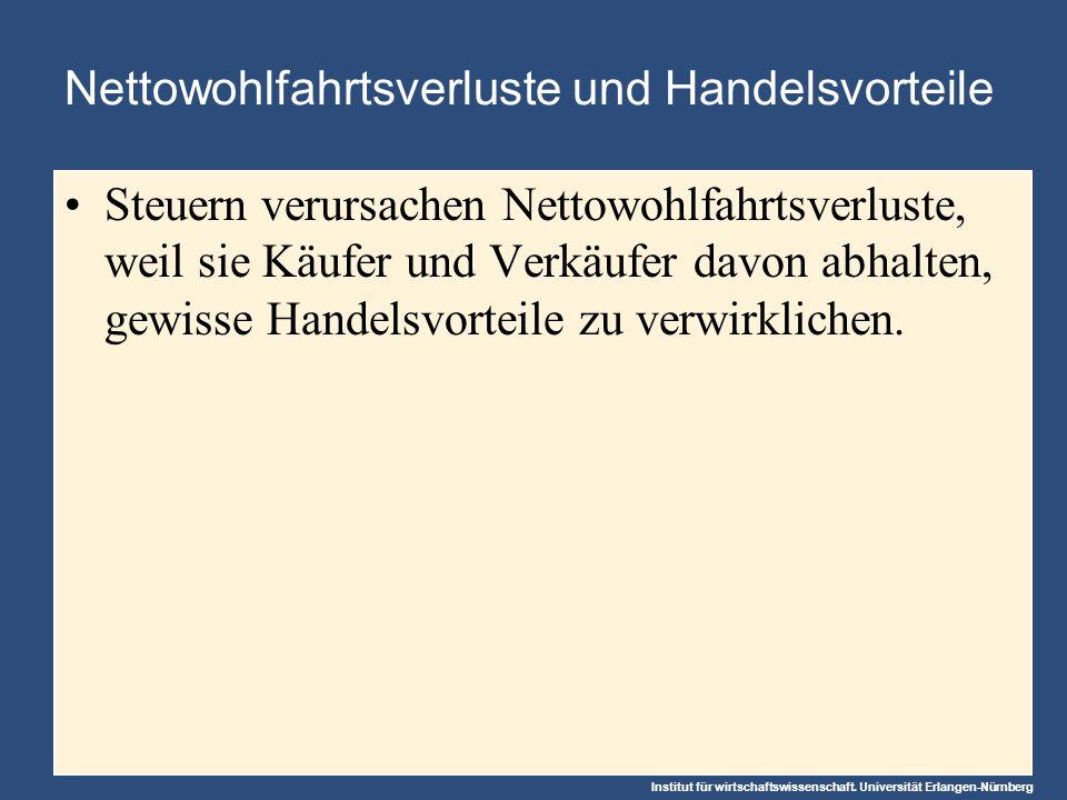 Institut für wirtschaftswissenschaft. Universität Erlangen-Nürnberg Nettowohlfahrtsverluste und Handelsvorteile Steuern verursachen Nettowohlfahrtsver