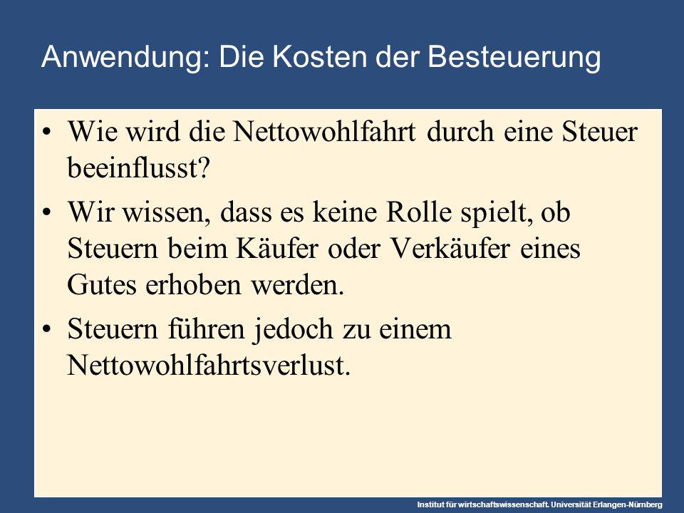Institut für wirtschaftswissenschaft. Universität Erlangen-Nürnberg Anwendung: Die Kosten der Besteuerung Wie wird die Nettowohlfahrt durch eine Steue