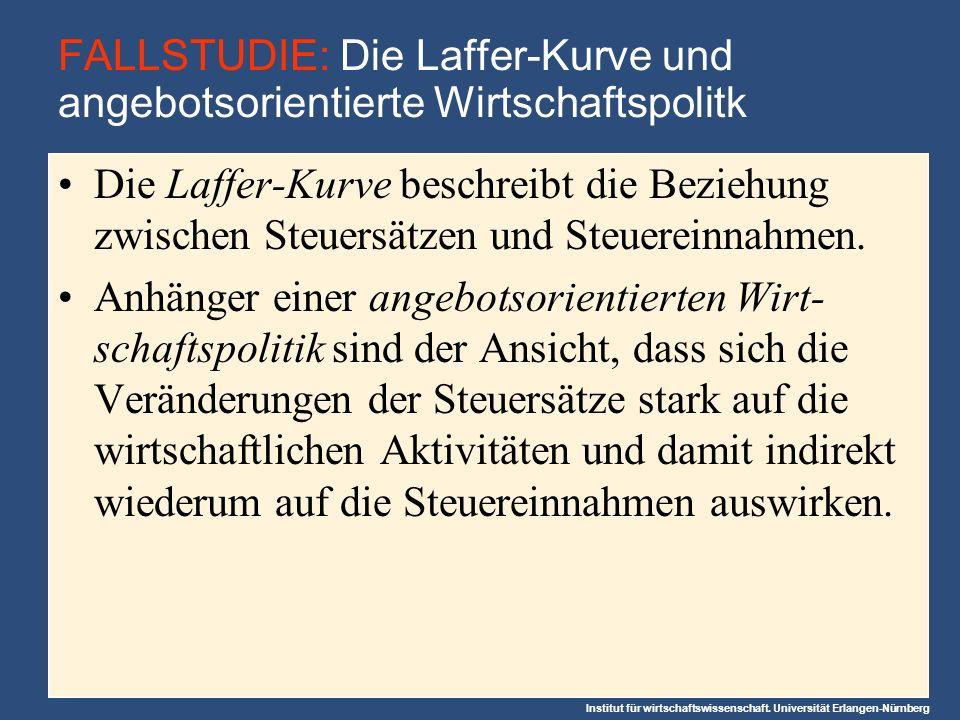 Institut für wirtschaftswissenschaft. Universität Erlangen-Nürnberg FALLSTUDIE: Die Laffer-Kurve und angebotsorientierte Wirtschaftspolitk Die Laffer-