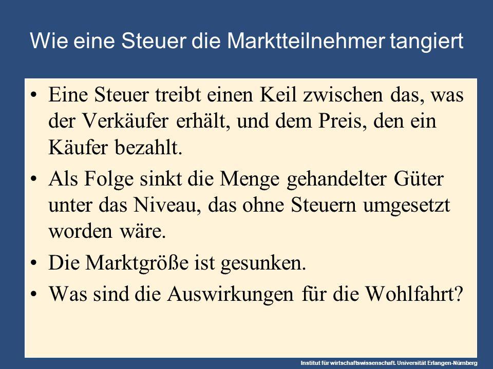 Institut für wirtschaftswissenschaft. Universität Erlangen-Nürnberg Wie eine Steuer die Marktteilnehmer tangiert Eine Steuer treibt einen Keil zwische