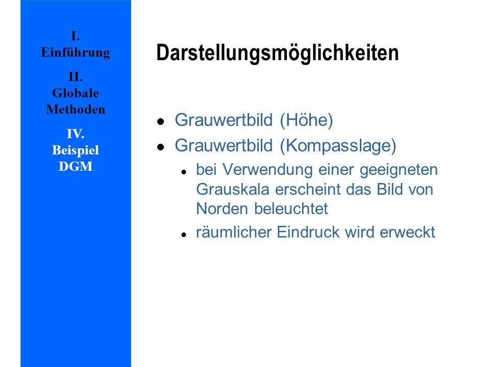 Darstellungsmöglichkeiten l Grauwertbild (Höhe) l Grauwertbild (Kompasslage) l bei Verwendung einer geeigneten Grauskala erscheint das Bild von Norden beleuchtet l räumlicher Eindruck wird erweckt I.