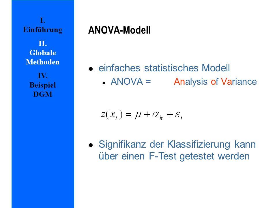 l einfaches statistisches Modell l ANOVA = Analysis of Variance l Signifikanz der Klassifizierung kann über einen F-Test getestet werden ANOVA-Modell I.