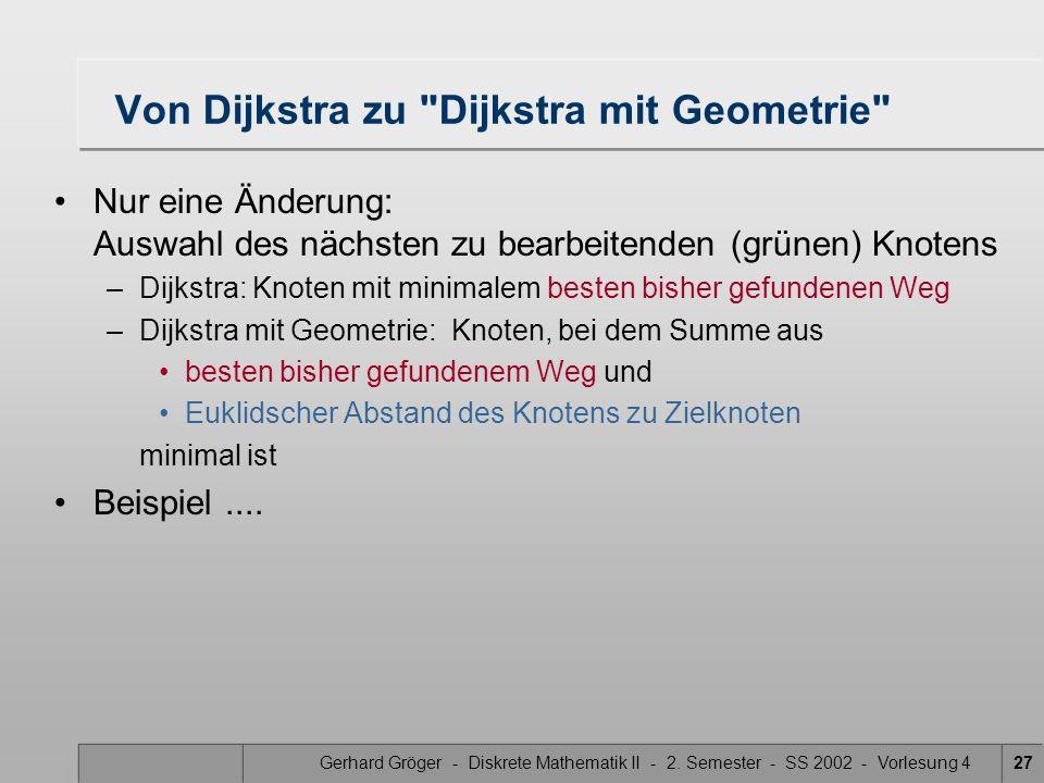 Gerhard Gröger - Diskrete Mathematik II - 2. Semester - SS 2002 - Vorlesung 427 Von Dijkstra zu