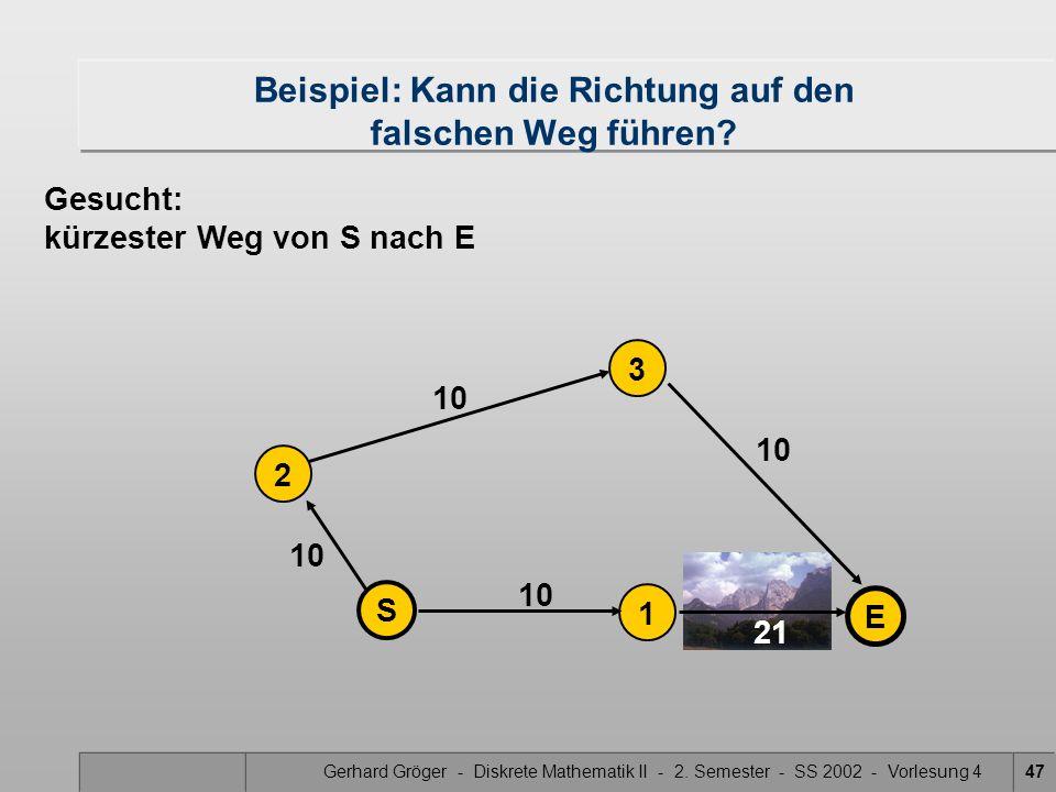 Gerhard Gröger - Diskrete Mathematik II - 2. Semester - SS 2002 - Vorlesung 447 21 10 2 1 S 3 E Beispiel: Kann die Richtung auf den falschen Weg führe
