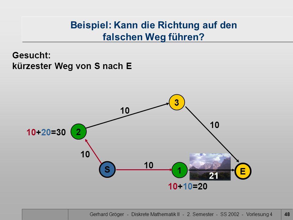 Gerhard Gröger - Diskrete Mathematik II - 2. Semester - SS 2002 - Vorlesung 448 21 10 2 1 S 3 E Beispiel: Kann die Richtung auf den falschen Weg führe