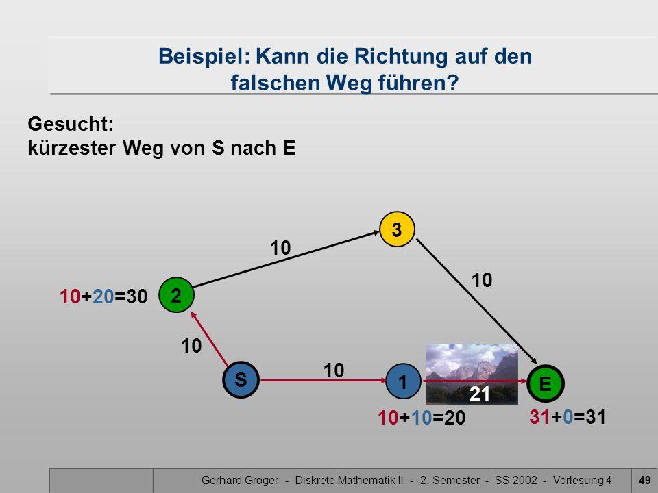 Gerhard Gröger - Diskrete Mathematik II - 2. Semester - SS 2002 - Vorlesung 449 21 10 2 1 S 3 E Beispiel: Kann die Richtung auf den falschen Weg führe