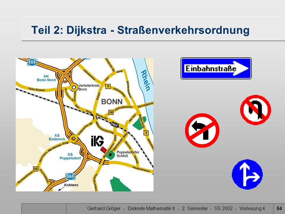 Gerhard Gröger - Diskrete Mathematik II - 2. Semester - SS 2002 - Vorlesung 454 Teil 2: Dijkstra - Straßenverkehrsordnung
