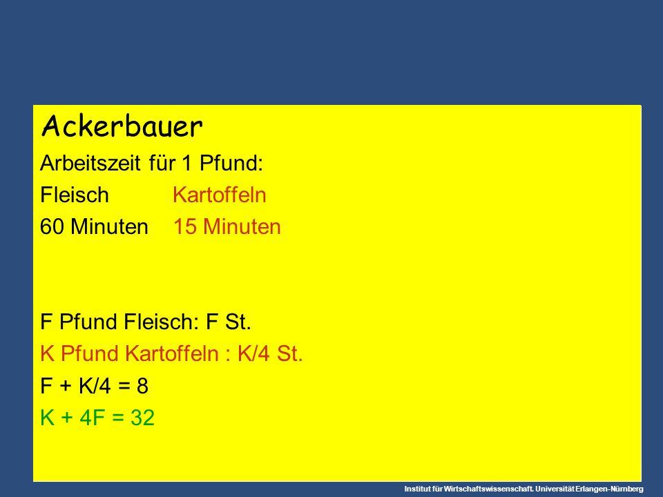 Institut für Wirtschaftswissenschaft. Universität Erlangen-Nürnberg Ackerbauer Arbeitszeit für 1 Pfund: FleischKartoffeln 60 Minuten15 Minuten F Pfund