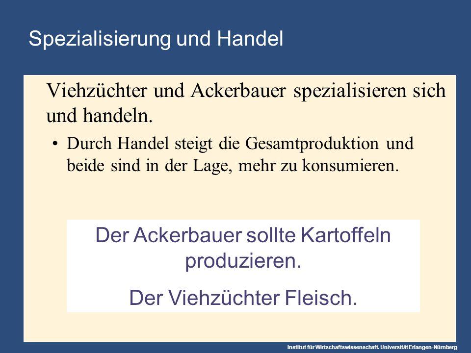 Institut für Wirtschaftswissenschaft. Universität Erlangen-Nürnberg Der Ackerbauer sollte Kartoffeln produzieren. Der Viehzüchter Fleisch. Spezialisie