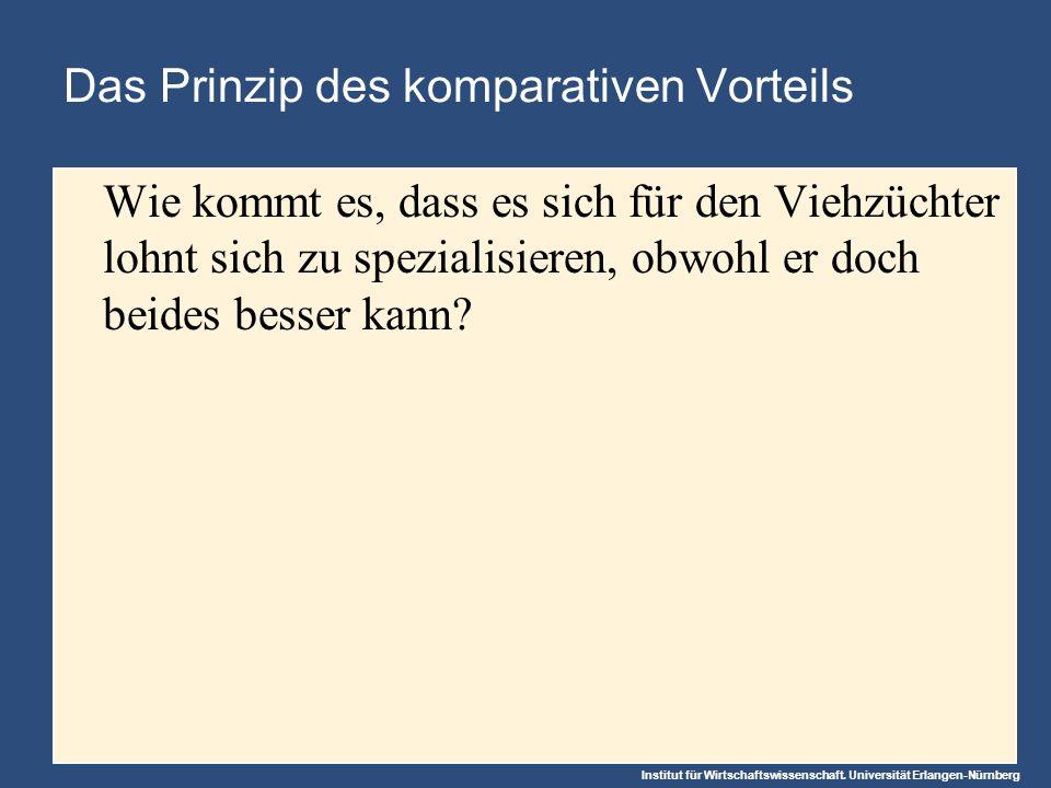 Institut für Wirtschaftswissenschaft. Universität Erlangen-Nürnberg Das Prinzip des komparativen Vorteils Wie kommt es, dass es sich für den Viehzücht