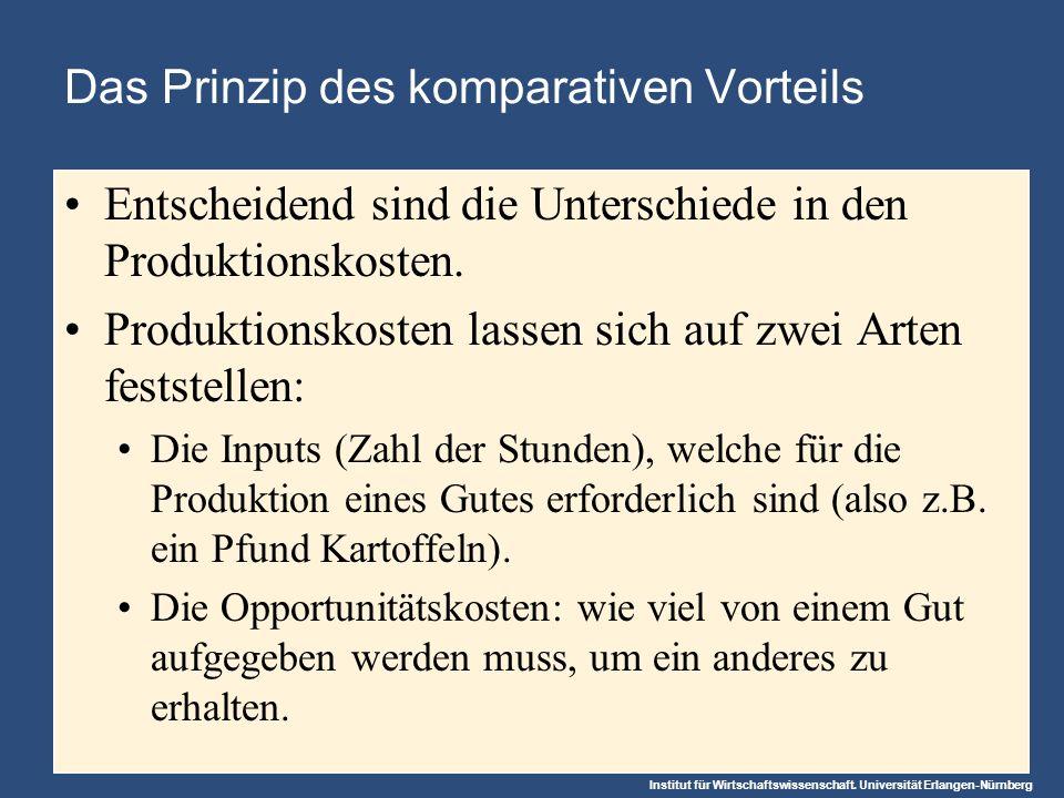 Institut für Wirtschaftswissenschaft. Universität Erlangen-Nürnberg Das Prinzip des komparativen Vorteils Entscheidend sind die Unterschiede in den Pr