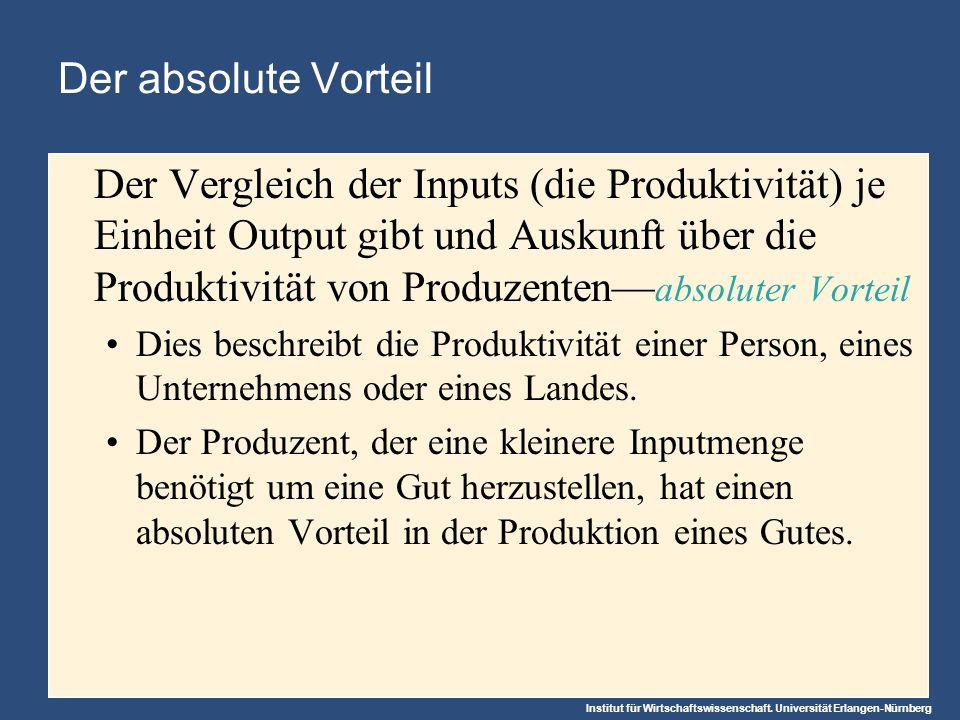 Institut für Wirtschaftswissenschaft. Universität Erlangen-Nürnberg Der absolute Vorteil Der Vergleich der Inputs (die Produktivität) je Einheit Outpu