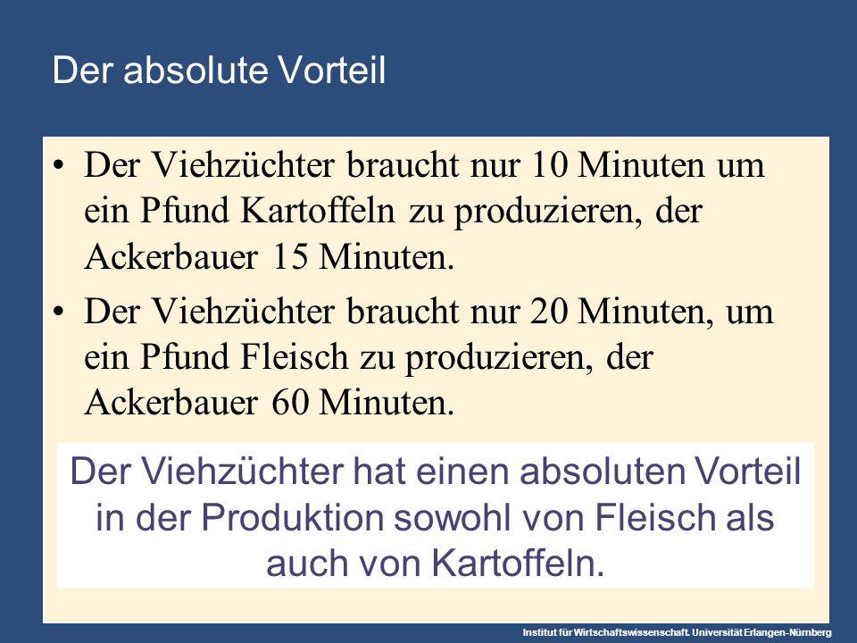 Institut für Wirtschaftswissenschaft. Universität Erlangen-Nürnberg Der Viehzüchter hat einen absoluten Vorteil in der Produktion sowohl von Fleisch a