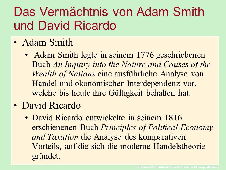 Institut für Wirtschaftswissenschaft. Universität Erlangen-Nürnberg Das Vermächtnis von Adam Smith und David Ricardo Adam Smith Adam Smith legte in se