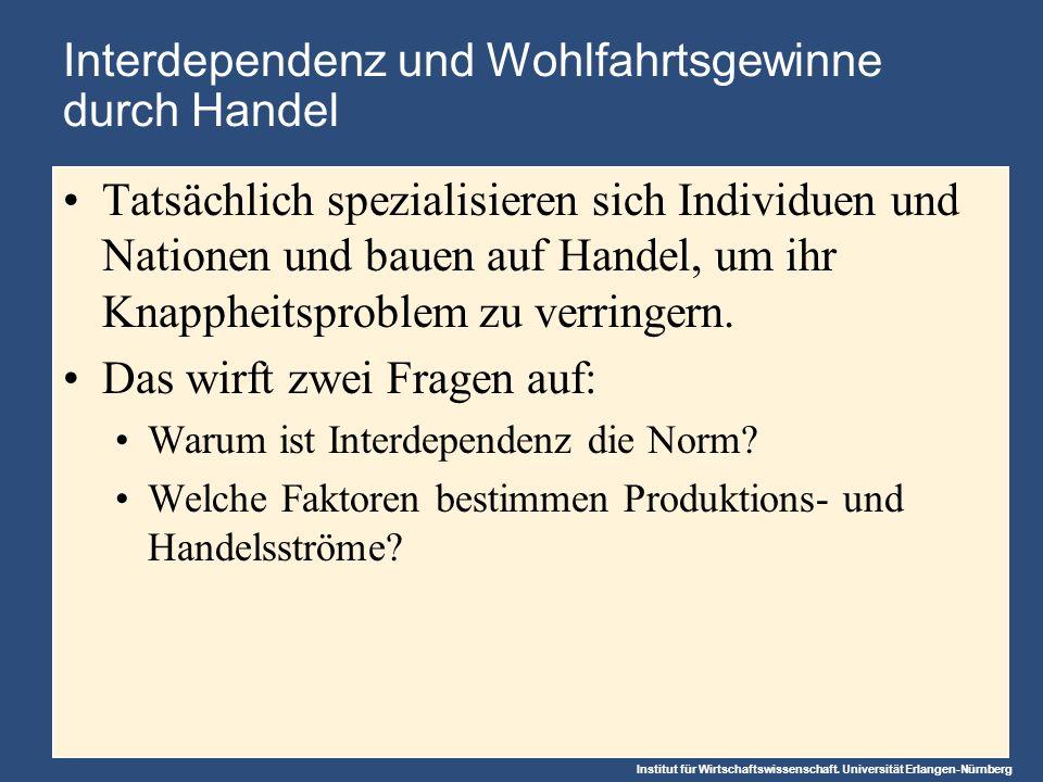 Institut für Wirtschaftswissenschaft. Universität Erlangen-Nürnberg Interdependenz und Wohlfahrtsgewinne durch Handel Tatsächlich spezialisieren sich