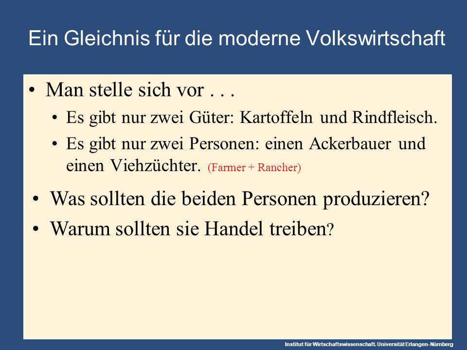 Institut für Wirtschaftswissenschaft. Universität Erlangen-Nürnberg Ein Gleichnis für die moderne Volkswirtschaft Man stelle sich vor... Es gibt nur z