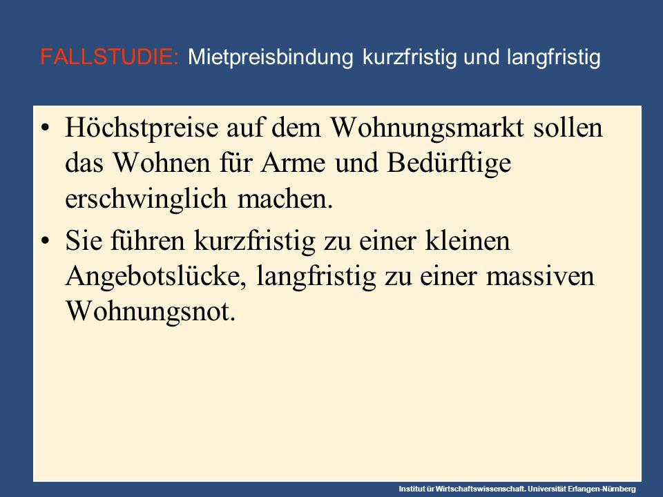 Institut ür Wirtschaftswissenschaft. Universität Erlangen-Nürnberg FALLSTUDIE: Mietpreisbindung kurzfristig und langfristig Höchstpreise auf dem Wohnu