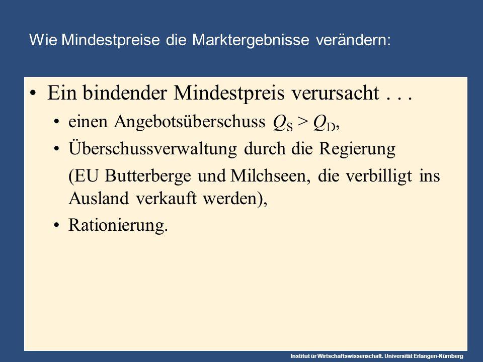 Institut ür Wirtschaftswissenschaft. Universität Erlangen-Nürnberg Wie Mindestpreise die Marktergebnisse verändern: Ein bindender Mindestpreis verursa