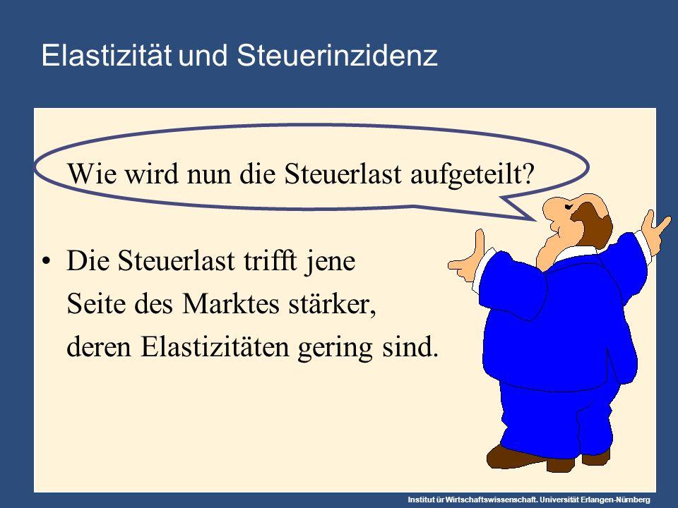Institut ür Wirtschaftswissenschaft. Universität Erlangen-Nürnberg Wie wird nun die Steuerlast aufgeteilt? Die Steuerlast trifft jene Seite des Markte