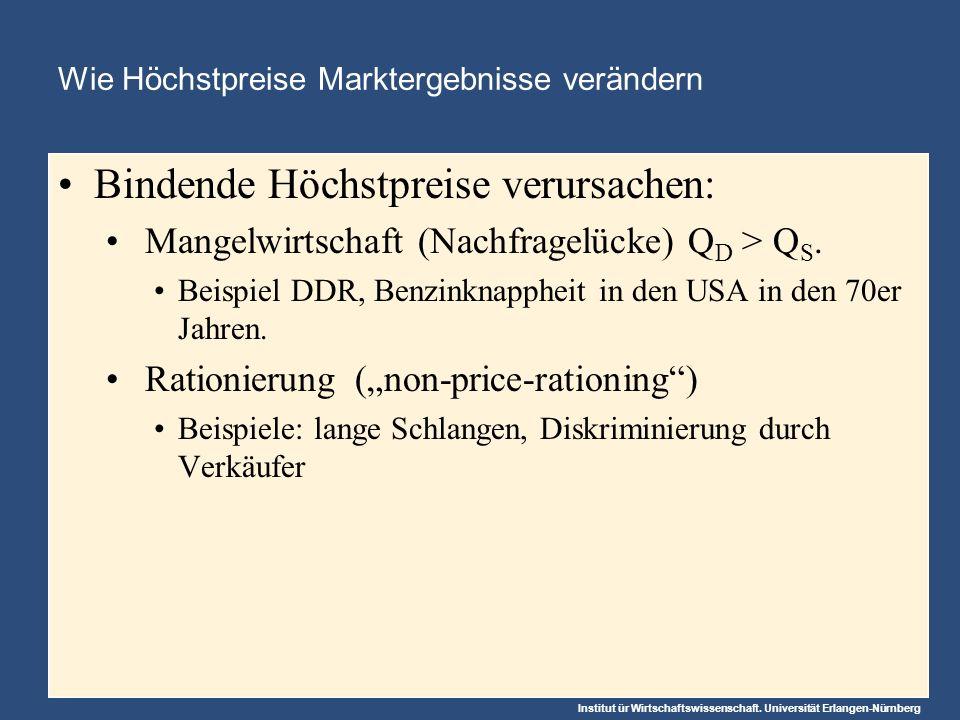 Institut ür Wirtschaftswissenschaft. Universität Erlangen-Nürnberg Wie Höchstpreise Marktergebnisse verändern Bindende Höchstpreise verursachen: Mange