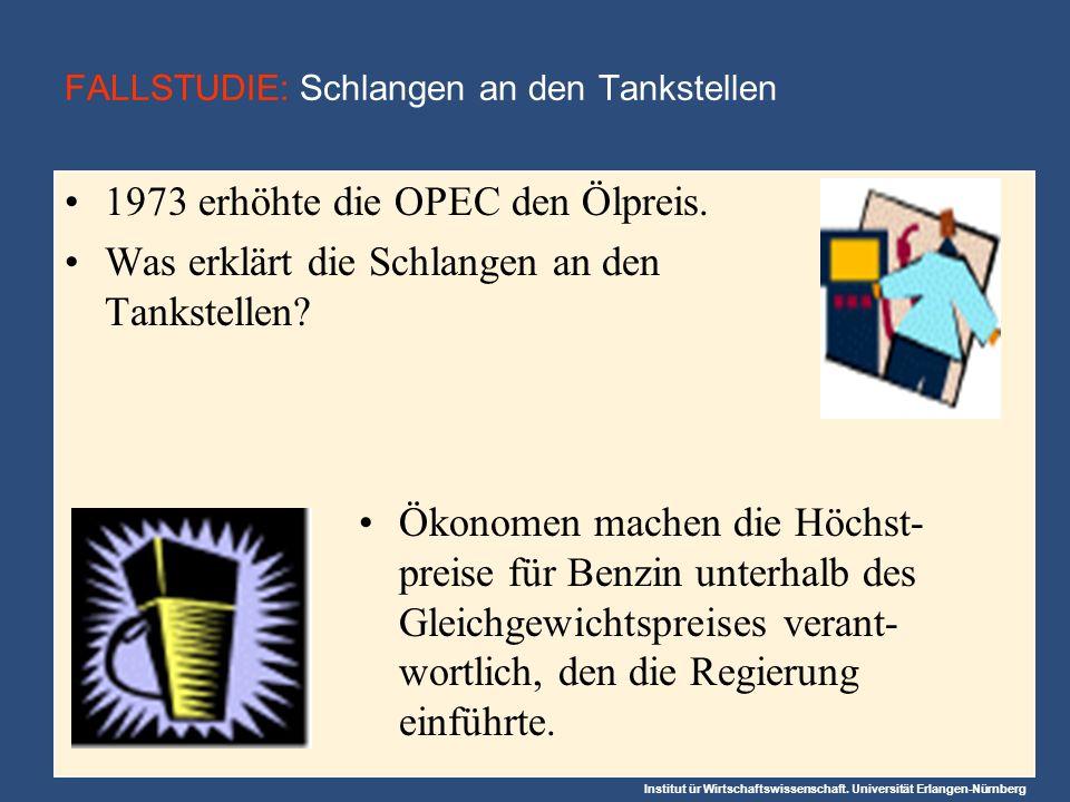 Institut ür Wirtschaftswissenschaft. Universität Erlangen-Nürnberg 1973 erhöhte die OPEC den Ölpreis. Was erklärt die Schlangen an den Tankstellen? FA