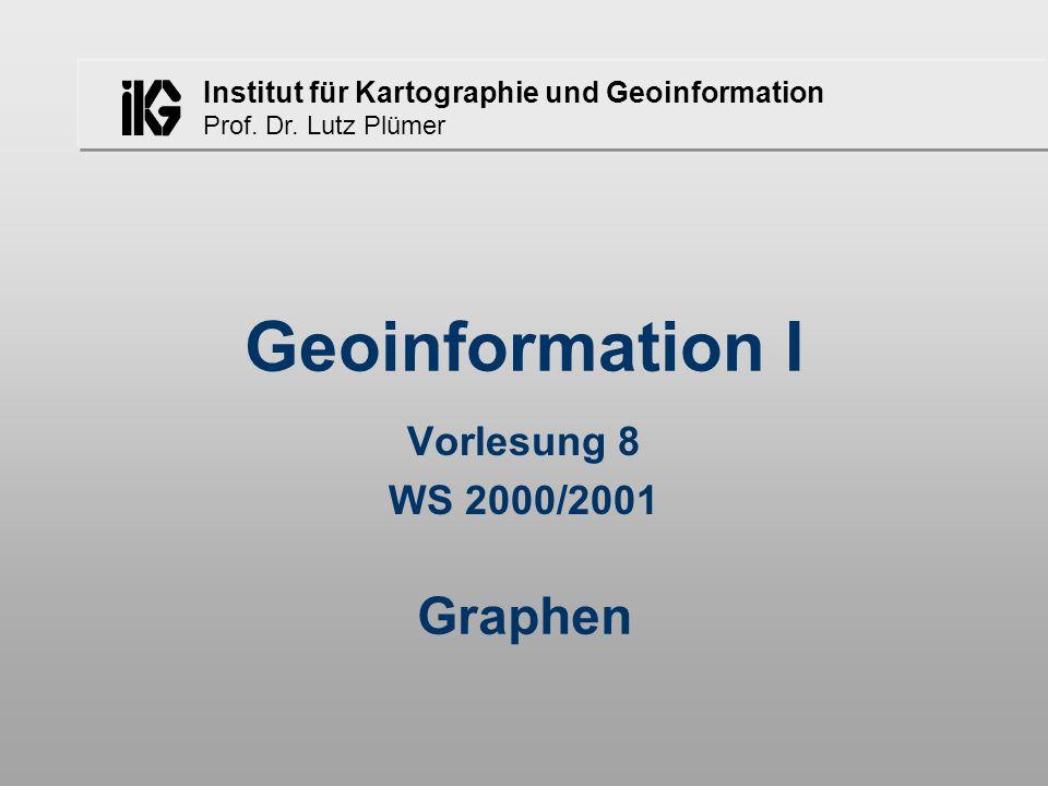 Institut für Kartographie und Geoinformation Prof. Dr. Lutz Plümer Geoinformation I Vorlesung 8 WS 2000/2001 Graphen