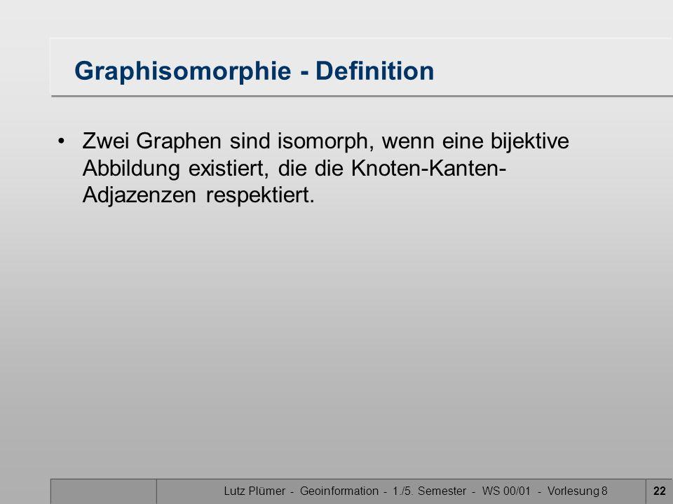 Lutz Plümer - Geoinformation - 1./5. Semester - WS 00/01 - Vorlesung 822 Graphisomorphie - Definition Zwei Graphen sind isomorph, wenn eine bijektive
