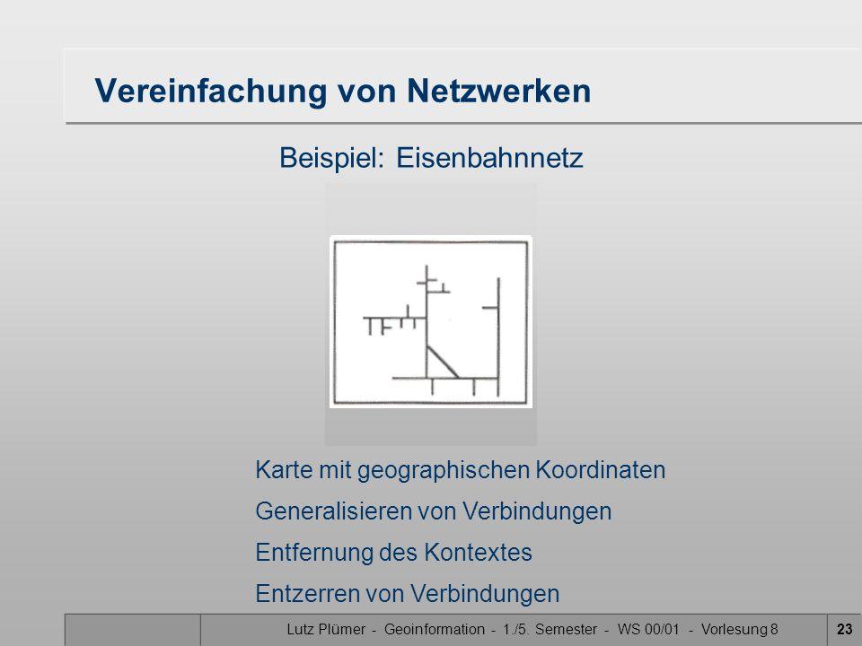 Lutz Plümer - Geoinformation - 1./5. Semester - WS 00/01 - Vorlesung 823 Vereinfachung von Netzwerken Beispiel: Eisenbahnnetz Karte mit geographischen