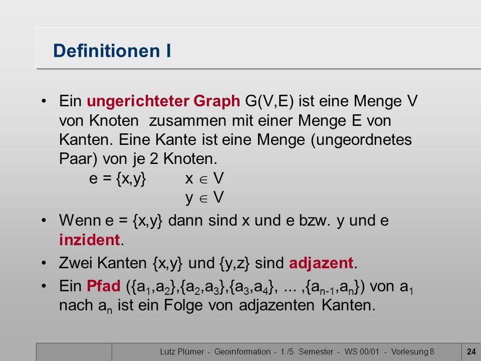 Lutz Plümer - Geoinformation - 1./5. Semester - WS 00/01 - Vorlesung 824 Definitionen I Ein ungerichteter Graph G(V,E) ist eine Menge V von Knoten zus