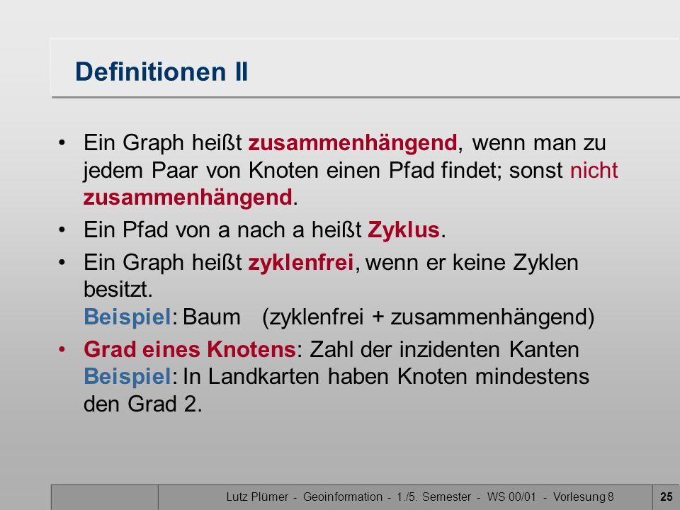 Lutz Plümer - Geoinformation - 1./5. Semester - WS 00/01 - Vorlesung 825 Definitionen II Ein Graph heißt zusammenhängend, wenn man zu jedem Paar von K