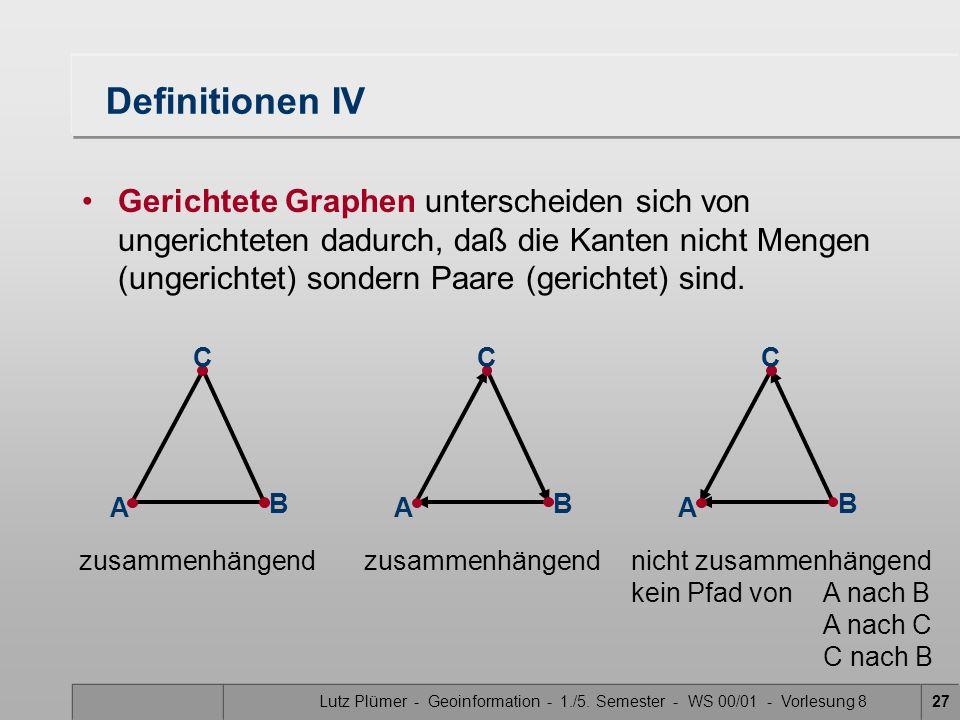 Lutz Plümer - Geoinformation - 1./5. Semester - WS 00/01 - Vorlesung 827 Definitionen IV Gerichtete Graphen unterscheiden sich von ungerichteten dadur