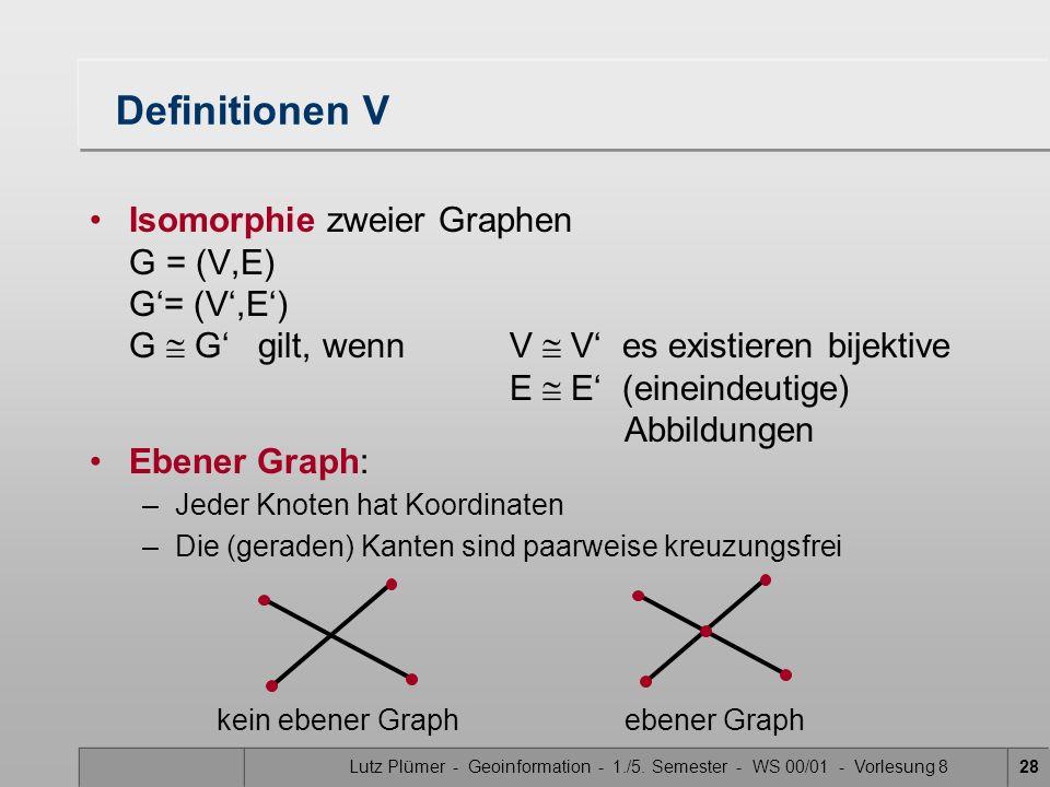 Lutz Plümer - Geoinformation - 1./5. Semester - WS 00/01 - Vorlesung 828 Definitionen V Isomorphie zweier Graphen G = (V,E) G= (V,E) G G gilt, wennV V
