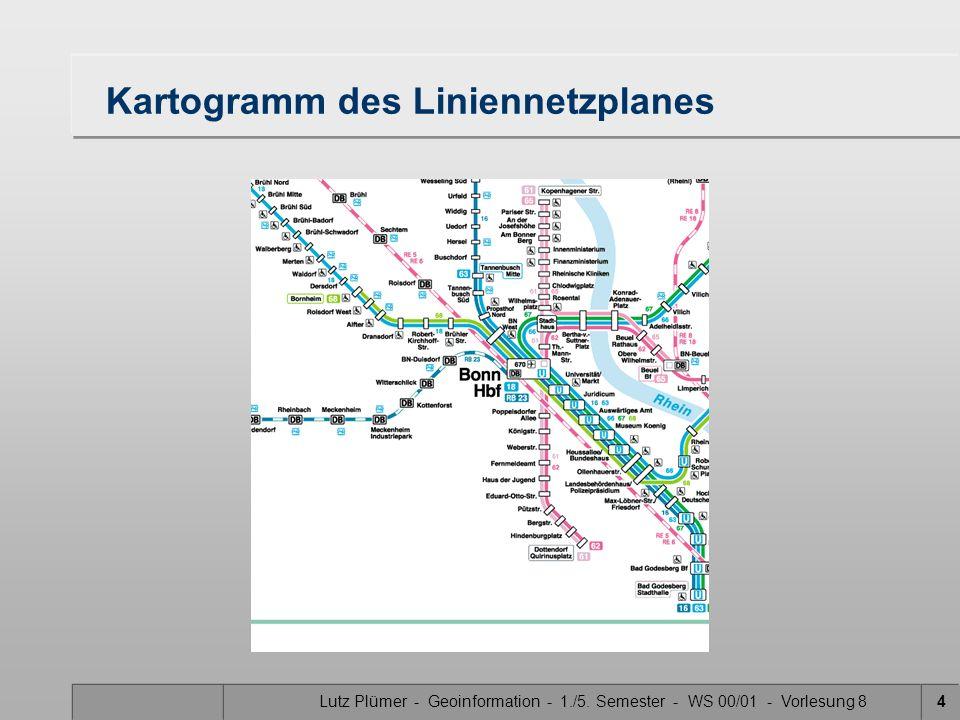 Lutz Plümer - Geoinformation - 1./5. Semester - WS 00/01 - Vorlesung 84 Kartogramm des Liniennetzplanes