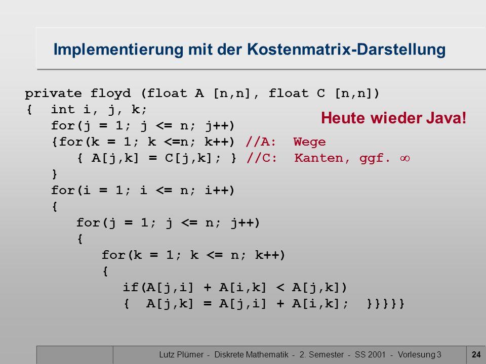 Lutz Plümer - Diskrete Mathematik - 2. Semester - SS 2001 - Vorlesung 324 Implementierung mit der Kostenmatrix-Darstellung private floyd (float A [n,n
