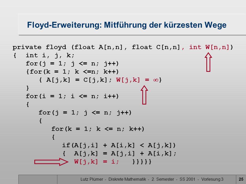 Lutz Plümer - Diskrete Mathematik - 2. Semester - SS 2001 - Vorlesung 325 Floyd-Erweiterung: Mitführung der kürzesten Wege private floyd (float A[n,n]