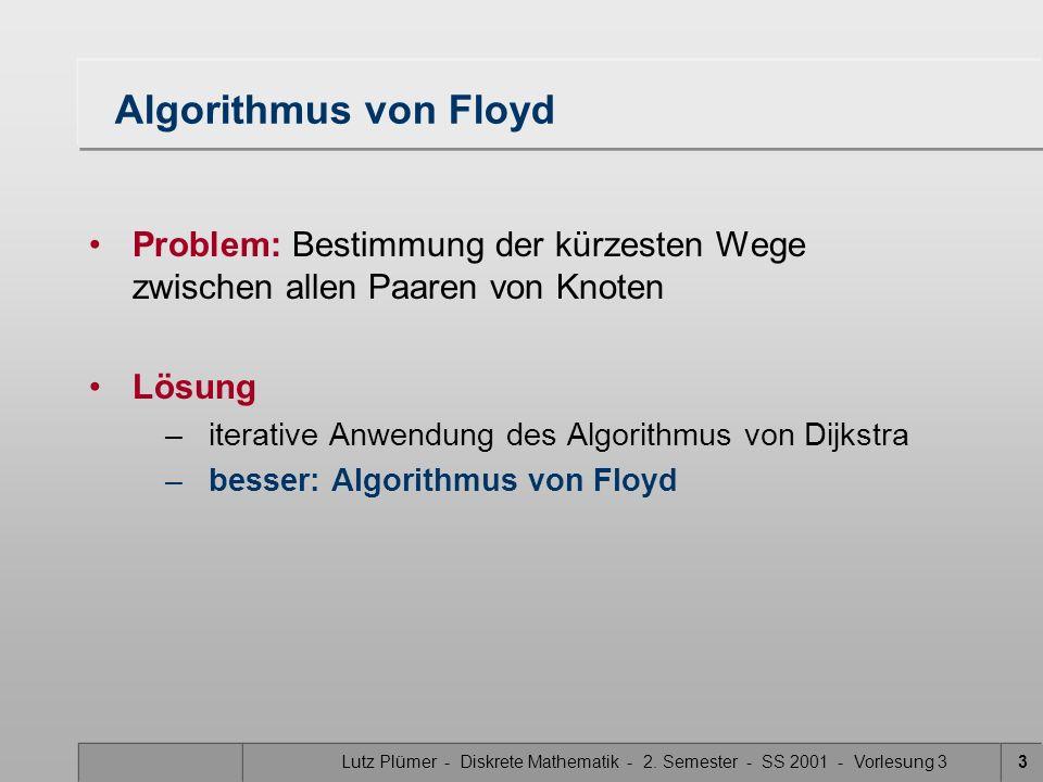 Lutz Plümer - Diskrete Mathematik - 2. Semester - SS 2001 - Vorlesung 33 Algorithmus von Floyd Problem: Bestimmung der kürzesten Wege zwischen allen P