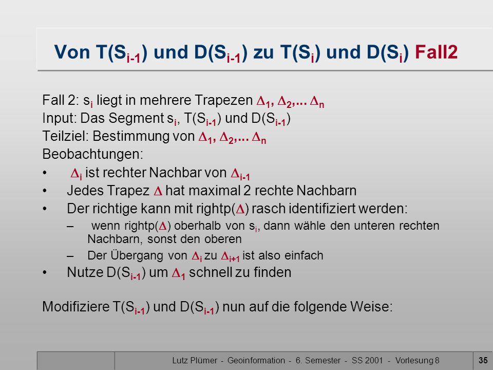 Lutz Plümer - Geoinformation - 6. Semester - SS 2001 - Vorlesung 835 Von T(S i-1 ) und D(S i-1 ) zu T(S i ) und D(S i ) Fall2 Fall 2: s i liegt in meh