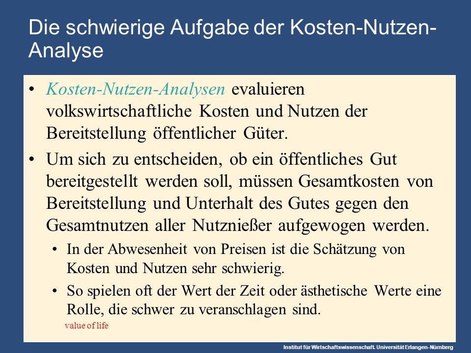Institut für Wirtschaftswissenschaft. Universität Erlangen-Nürnberg Die schwierige Aufgabe der Kosten-Nutzen- Analyse Kosten-Nutzen-Analysen evaluiere