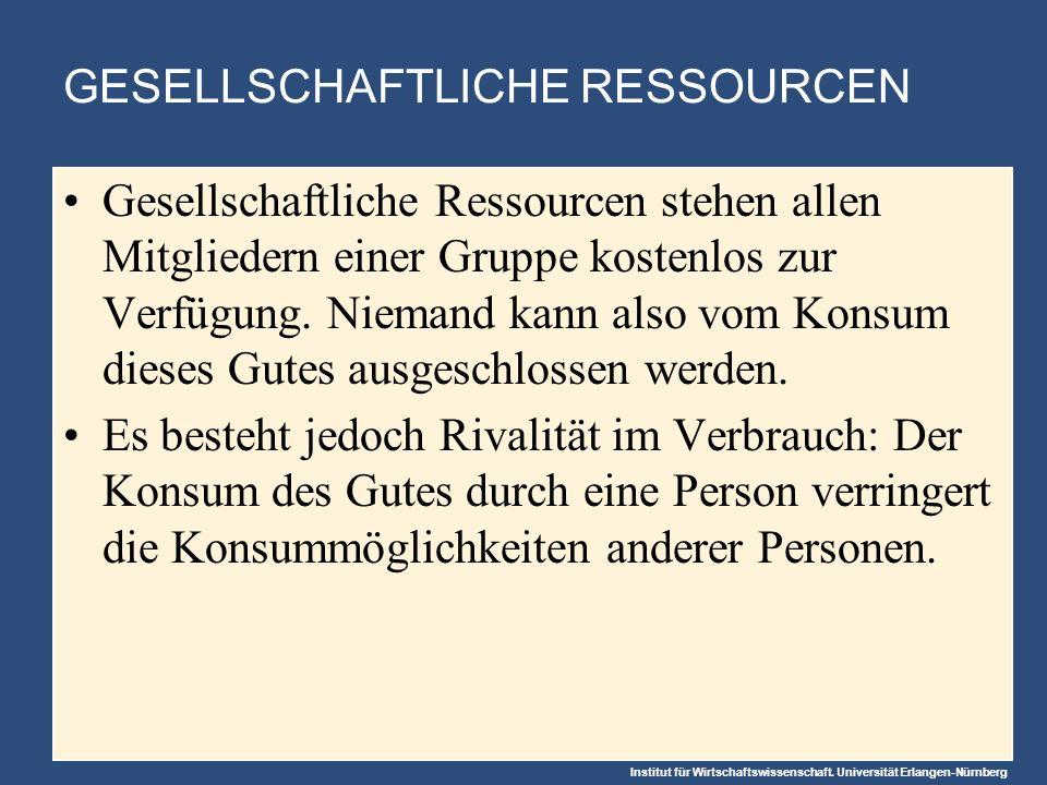 Institut für Wirtschaftswissenschaft. Universität Erlangen-Nürnberg GESELLSCHAFTLICHE RESSOURCEN Gesellschaftliche Ressourcen stehen allen Mitgliedern