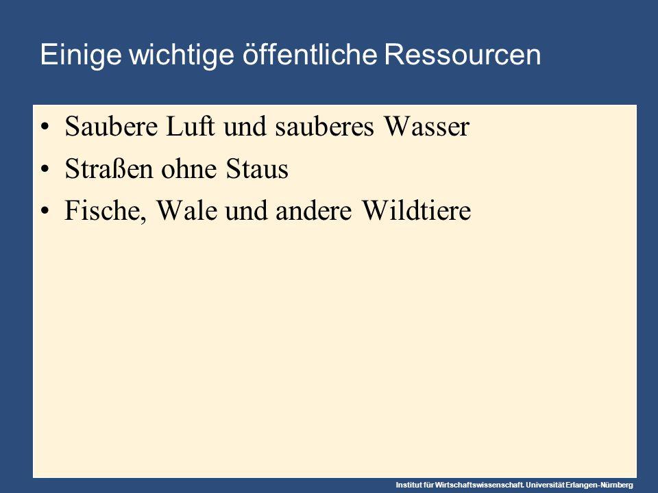 Institut für Wirtschaftswissenschaft. Universität Erlangen-Nürnberg Einige wichtige öffentliche Ressourcen Saubere Luft und sauberes Wasser Straßen oh