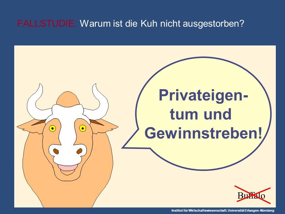 Institut für Wirtschaftswissenschaft. Universität Erlangen-Nürnberg FALLSTUDIE: Warum ist die Kuh nicht ausgestorben? Privateigen- tum und Gewinnstreb
