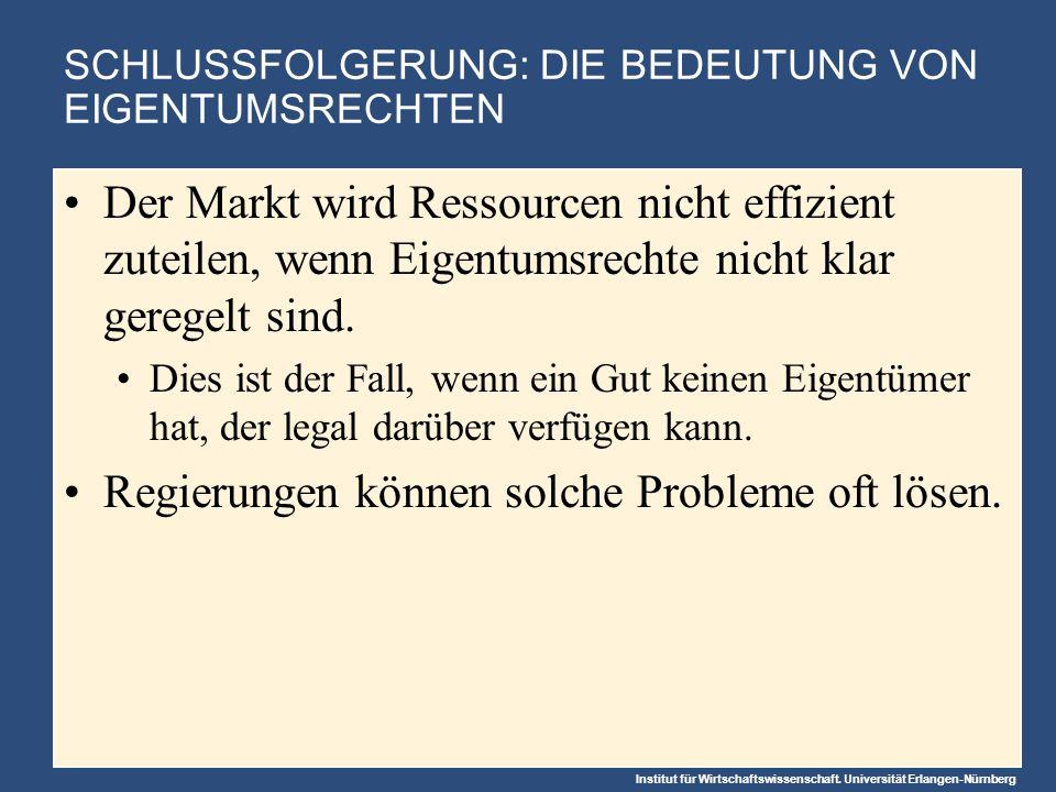 Institut für Wirtschaftswissenschaft. Universität Erlangen-Nürnberg SCHLUSSFOLGERUNG: DIE BEDEUTUNG VON EIGENTUMSRECHTEN Der Markt wird Ressourcen nic