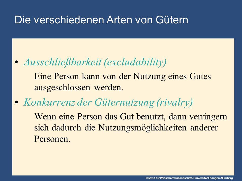 Institut für Wirtschaftswissenschaft. Universität Erlangen-Nürnberg Die verschiedenen Arten von Gütern Ausschließbarkeit (excludability) Eine Person k