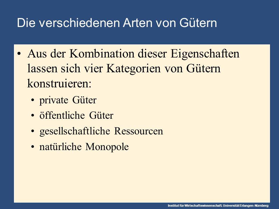 Institut für Wirtschaftswissenschaft. Universität Erlangen-Nürnberg Die verschiedenen Arten von Gütern Aus der Kombination dieser Eigenschaften lassen