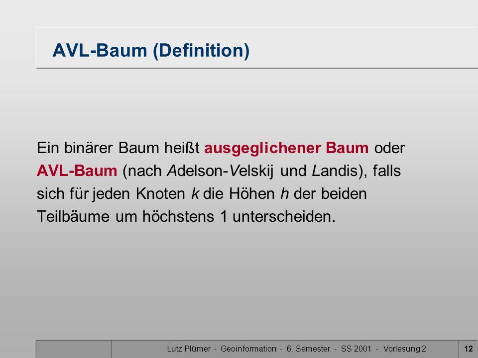 Lutz Plümer - Geoinformation - 6. Semester - SS 2001 - Vorlesung 212 AVL-Baum (Definition) Ein binärer Baum heißt ausgeglichener Baum oder AVL-Baum (n