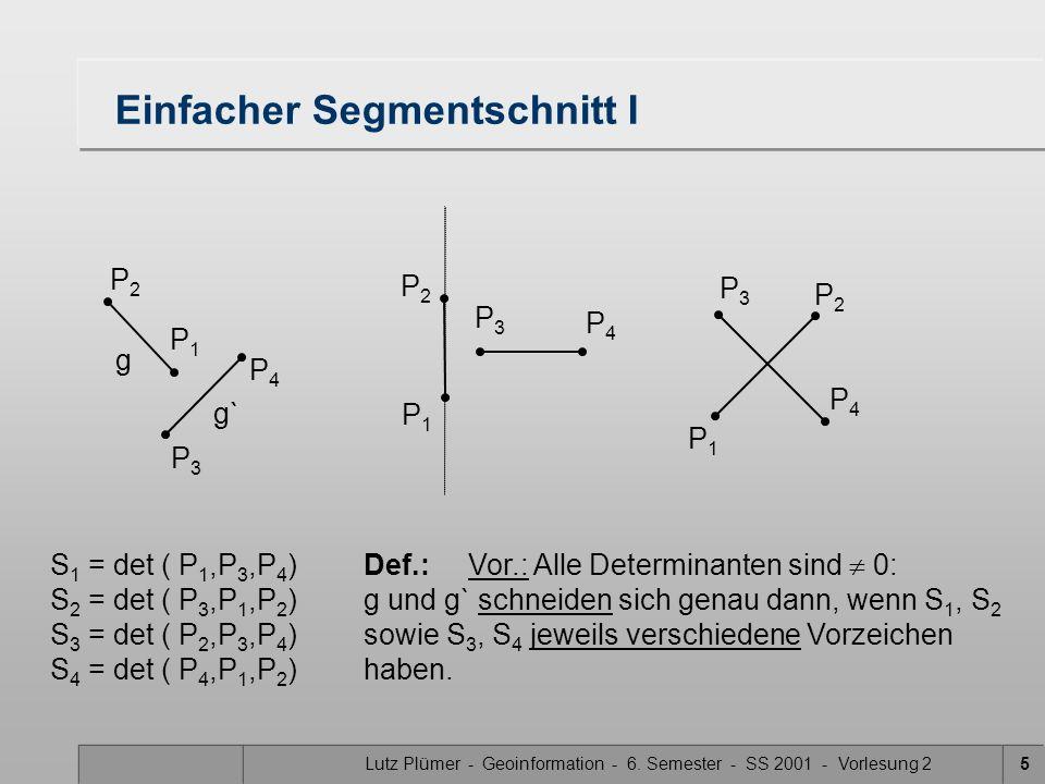 Lutz Plümer - Geoinformation - 6. Semester - SS 2001 - Vorlesung 25 Einfacher Segmentschnitt I S 1 = det ( P 1,P 3,P 4 )Def.:Vor.: Alle Determinanten